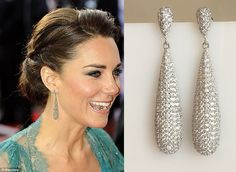 Kate Middleton Inspired Sterling Silver Cubic Zirconia Pave Teardrop Earrings