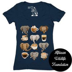 "Sharp Shirter ""Elephants & Espresso"" Girls T-shirt at http://www.sharpshirter.com - my 2 favorite things on a shirt!!!"