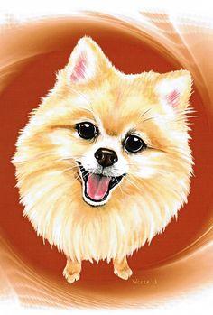 Pomeranian Art Pomeranian Print Pet Portrait by ArtbyWeeze, $14.95