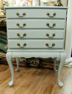 Vintage Pale Pastel Green Silver Chest from Woodstock Antiques. Painted with Amy Howard Cartouche Green Paint. Available for sale online or in our Woodstock, GA store!