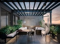 Terrace Garden Design, Rooftop Design, Outdoor Lounge, Outdoor Living, Home Room Design, House Design, Rustic Pergola, Small Backyard Design, Modern Architecture House