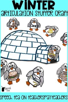 "FUN Winter speech therapy craft that keeps little hands busy! Students will have so much fun ""stuffing"" penguins into an igloo as they practice their speech sounds. Winter articulation therapy will be planned with this activity! Click for more info."