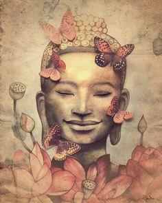 Smiling Buddha Art Print on sale @ www.downdogboutique.com #YogaHome #Yoga #YogaArt