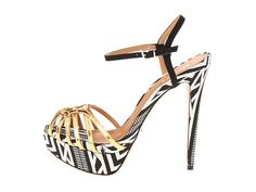 Gold & Patterned Ankle Strap Shoes