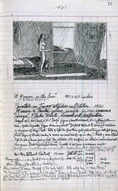 Edward Hopper Artist's ledger—Book III, Artist Journal, Artist Sketchbook, American Realism, American Artists, Painter Artist, Edward Hopper Paintings, Ashcan School, Fine Art, Art Sketchbook