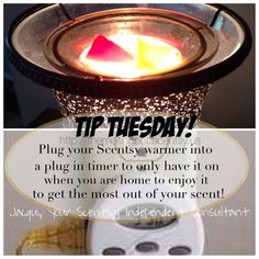 Do you want to get the most out of your Scentsy?  Plug it into a timer and set it for when you are home and set to turn off while you are sleeping.  This way you will be able to enjoy your amazing Scentsy scents whenever you are home and awake to fully enjoy them!  ;)  http://TheMeltingPot.scentsy.us Not to mention it's a GREAT time to buy the timers while they are with the holiday decor items.   #themoreyouknow #scentsy #Tip #Tuesday #enjoy #happiness #mymeltingpot