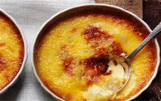 Lækker crème brûlée med pærer