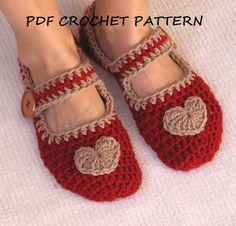 Hey, diesen tollen Etsy-Artikel fand ich bei http://www.etsy.com/de/listing/90459038/mary-jane-slippers-crochet-pattern