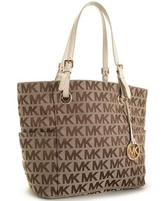 MICHAEL Michael Kors Block Monogram Signature Tote Handbags   Accessories -  Macy s da8535ef373a7