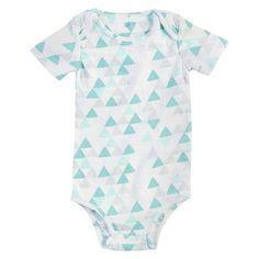 Aden + Anais® Baby Geo Triangle Bodysuit - White/Turquoise 0-3M : Target