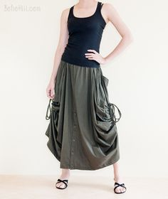 Creative Pants - Convertible Skirt To Wide Leg Pants With Split Buttons And Side Pull On (Olive) Wide Leg Palazzo Pants, Wide Leg Pants, Hippie Skirts, Skirt Pants, Modest Outfits, Female Models, Convertible, Boho Chic, Ballet Skirt