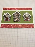 Handmade Red Stampin Up  Christmas Gingerbread Greeting  Card Kit- Makes 3 Cards