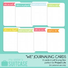 Free printable 3x4 Journaling cards {from My Sister's Suitcase} Perfect for #ProjectLife!
