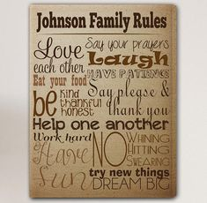 Rules of the House Canvas Print Family Rules Canvas Print