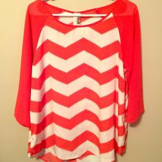 "3/4 Sleeve Coral Chevron Anthropologie Top Dreamy coral and white chevron Anthropologie top. Minor high/low bottom seam. Falls 15"" from armpit to bottom hem. Good used condition. Bottom hem is finished, but has a couple loose threads. Anthropologie Tops Blouses"