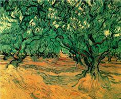 Olive Trees - Vincent van Gogh Bonsai Tree Tattoos, Willow Tree Tattoos, Pine Tree Tattoo, Vincent Van Gogh, Small Palm Trees, Palm Tree Sunset, Birch Tree Decor, Birch Tree Wedding, Tree Carving