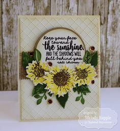 Melody Rupple: A Paper Melody – Taylored Expressions September Release - Simply Stamped - Sunflowers - 9/3/15.  (Taylored Expressons stamps/ dies: Simply Stamped Sunflowers. TE dies: Bloomers Greenery. TE EF: Dotted Lattice).  (Pin#1: Dies/Stamps: Taylored Expressions. Pin+: Flowers: 3D/ Dies...; Encouragement).