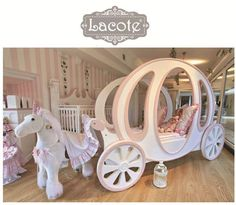 pink nursery decor baby girl nursery decor girl by LACOTEKIDS A dream come true when sleeping in this gorgeous Cinderella coach bed! Girls Room Design, Girl Bedroom Designs, Nursery Design, Girls Bedroom, Bedroom Ideas, Dream Bedroom, Childs Bedroom, Bedroom Bed, Dream Rooms