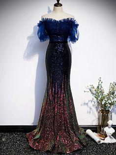 Mermaid Sequins Off the Shoulder Short Sleeve Prom Short Sleeve Prom Dresses, Navy Blue Prom Dresses, Formal Dresses, Mermaid Sequin, Fitted Skirt, Fashion Lighting, Pink Sequin, Off The Shoulder, Evening Dresses