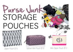 """Purse Junk Pouches- Thirty One by Miriam McDonnell"" by sandiegomunky on Polyvore. #ThirtyOneGifts #ThirtyOne #JewellByThirtyOne #JKbyThirtyOne  #Monogramming #Organization"