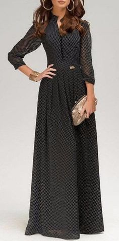 Classic Black Maxi Dress Chiffon Long Dress by Trendy Dresses, Cheap Dresses, Nice Dresses, Casual Dresses, Casual Outfits, Long Chiffon Skirt, Chiffon Maxi Dress, Dress Outfits, Fashion Dresses