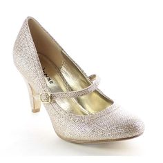 These eye-catching sparkling pumps is your must have for any occasion. They feature closed round toe front, glittering upper, Mary Jane style with buckle strap, low stiletto heel, padded insole and easily slip on/off.