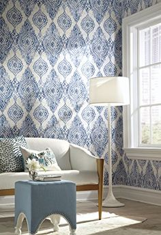 York Wallcoverings WH2706 Wallpap-Her Boho Chic Wallpaper, Cobalt Blue/Champagne/White