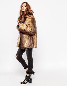 Image 4 of ASOS PETITE - Coat with Faux Fur Trim in vintage look