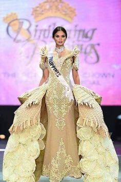 Filipiniana Dress / Balintawak Gown / Filipino Costume / Philippine Terno / Pia Wurtzbach / Binibining Pilipinas / Miss Universe Modern Filipiniana Gown, Filipiniana Wedding, Maria Clara Dress Philippines, Miss Universe Costumes, Filipino Fashion, Philippines Fashion, Prom Dresses, Formal Dresses, Traditional Dresses