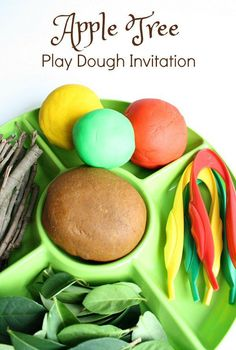 Apple Tree Play Dough Invitation-Use loose part to build your own apple tree. Then practice fine motor skills by apple picking Preschool Apple Theme, Fall Preschool, Preschool At Home, Preschool Apples, Preschool Ideas, Preschool Kindergarten, September Preschool, September Crafts, October