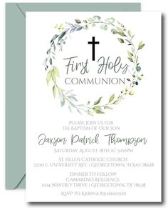 Printable Greenery First Communion Invitations featuring lovely foliage and modern details. First Communion Cards, Holy Communion Invitations, First Holy Communion, Plywood Furniture, Plywood Floors, Kid Furniture, Modern Furniture, Furniture Design, Small Cafe Design
