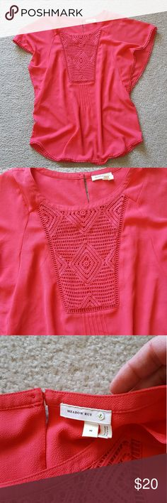 Anthropologie pink flutter sleeve shirt M Beautiful pink Meadow Rue top by Anthropologie with crochet inset on front. Sleeve detail shown.  Worn only a few times before I colored my hair and now the color doesn't look right on me. Anthropologie Tops Blouses