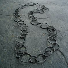 Tory Silver Organic Circle Chain Necklace by nemesis on Etsy