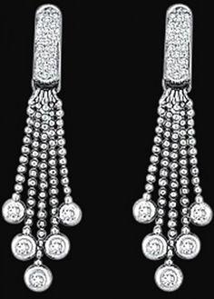 2 Carat Diamonds Chandelier Earring Jewelry White Gold Lady Earrings.