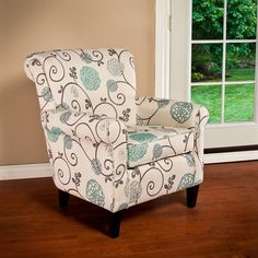 Linen Highback Chair W Fl Prints Living Room Furniture Accent Arm Christopherknighthome