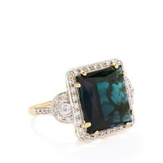 Indicolite & Diamond 18k Gold Lorique Ring MTGW 9.12cts Rough Opal, Pink Ring, 18k Gold, Sapphire, Engagement Rings, Diamond, Sparkles, Jewelry, Image