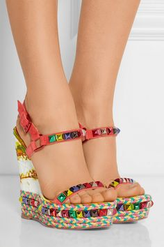 christian louboutin solid leather wedges
