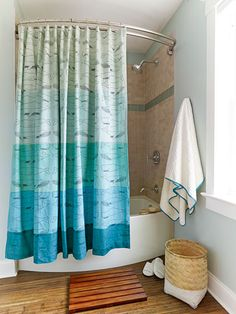 A Whale Print Shower Curtain Is Perfect In A Beachy Home