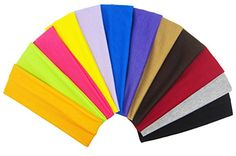 ColorBeBe 12 Cotton Yoga Headbands Assorted Solid Color  Stretch Elastic Yoga Fashion Headband Sports Teams Headband Set Hair Wrap YH001 * Check this awesome product by going to the link at the image.