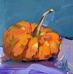 Pumpkin no. 15 Original Still Life Oil Painting by Angela Moulton 6 x 6 inch…