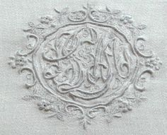 Antique Linens -Antique Linen Monogrammed Damask Napkins
