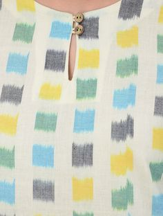 Ivory Blue Green Yellow Ikat Cotton Dress with Asymmetrical Hem