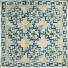 """Quilting With Judy Martin -- 'Aegean Sea' (98"""" x 98"""").  Spiral log cabins"""