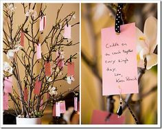 Baby shower wish-tree...it really looks as cute as the picture and I got free sticks from my backyard