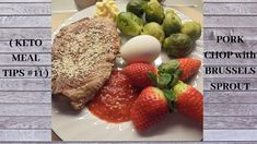 A very simple keto dinner. I just boiled the brussels sprouts and fried the pork chop. Brussels Sprouts, Keto Meal, Keto Dinner, Pork Chops, Meal Ideas, Keto Recipes, Fries, Meals, Breakfast