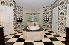 Master Bathroom with his and her toilets in the closets=PERFECT. Maybe not a checkered floor,  but loving the idea!