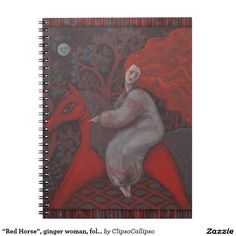 """""""Red Horse"""", ginger woman, folk art, earth shades Spiral Notebook  #red, #orange, #ginger, #gray, #grey, #brown, #earth, #sanguine, #scarlet, #horse, #girl, #hair, #long, #redhaired, #redhead, #woman, #fantasy, #surreal, #imagination, #feminine, #folk, #folkart, #folkloric, #fairytale, #forest, #moon, #full, #fullmoon, #art, #pastel, #pastels, #painting, #fall, #autumn, #stationwary,#print, #printed"""