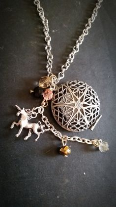 Silver Unicorn Aromatherapy Necklace Essential Oil by AuraStrands, $18.00