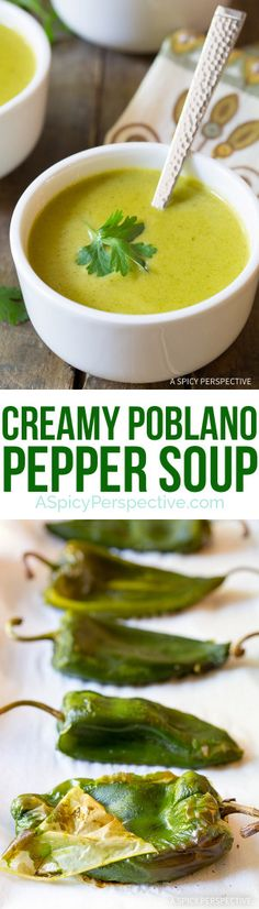 Mild and Smoky - Creamy Poblano Pepper Soup Recipe on ASpicyPerspective.com I made this with Queso Quesedilla and it never got smooth, next time I'll try it with Crema Mexicana.  An immersion blender would make this much easier too.