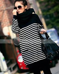 LYDD™ Women Casual Knitted Stripe Long Batwing Poncho